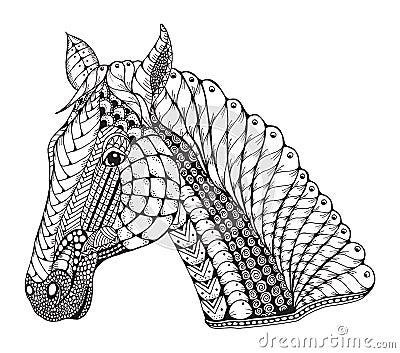 Horse Head Zentangle Stylized Vector Illustration