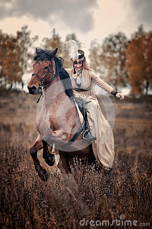Horse-hunting with ladies in riding habit Editorial Photo