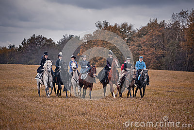 Horse-hunting with ladies in riding habit Editorial Photography