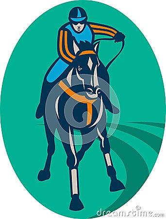 Horse and jockey racing  track