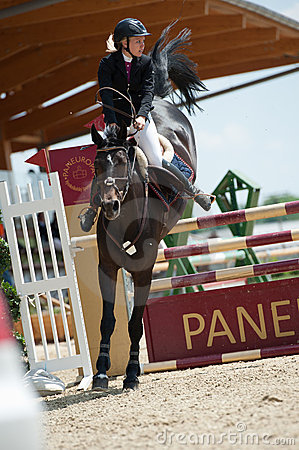 Horse jumping competition in Pezinok, Slovakia Editorial Image