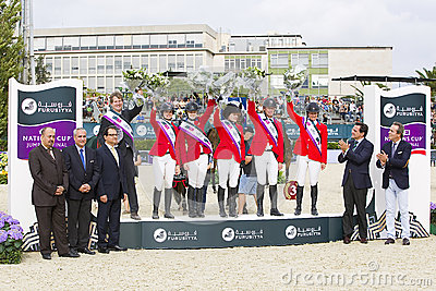 Horse jumping - USA team Editorial Photo
