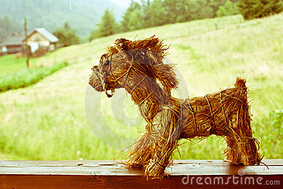 Horse made ​​of dry straw