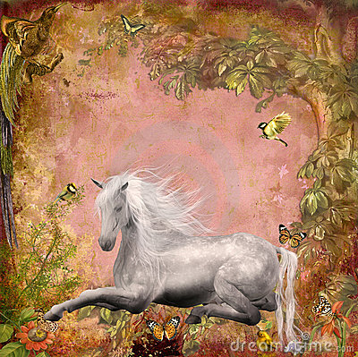 Horse in magic forrest