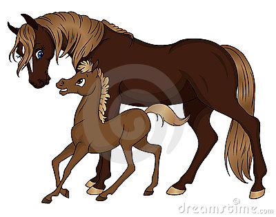 Horse mom and baby