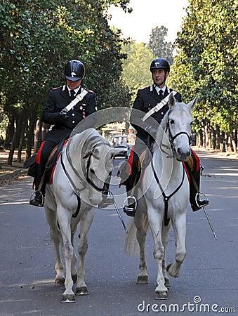 Horse mounted Police Borghese Gardens Rome Italy Editorial Stock Image