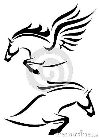 Horse and pegasus