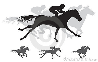 Horse race  Silhouette, gallop