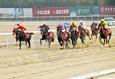 Horse racing  in China. Editorial Photography