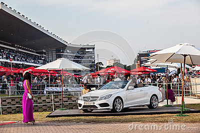 Horse Racing People Car Promotions Editorial Image