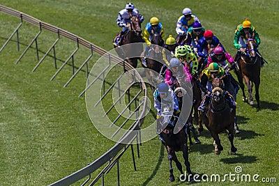 Horse Racing Jockeys Corner Editorial Photography