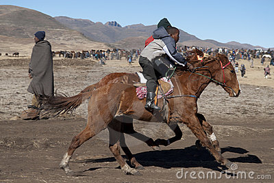 Horse racing in Lesotho Editorial Image