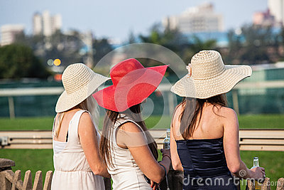 Horse Racing Three Hats Girls Editorial Image