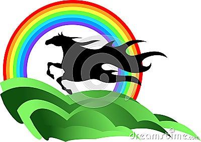 Horse with rainbow