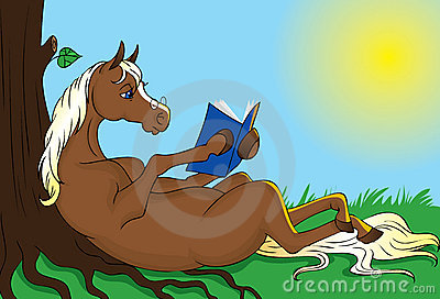 Horse reading book
