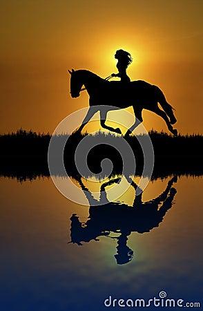 Free Horse Ride Reflection Stock Image - 6835131