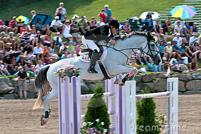 Horse Rider at the Bromont jumping competition Editorial Photo