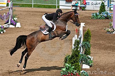 Horse Rider at the Bromont jumping competition Editorial Photography