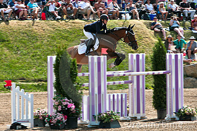 Horse Rider at the Bromont jumping competition Editorial Image