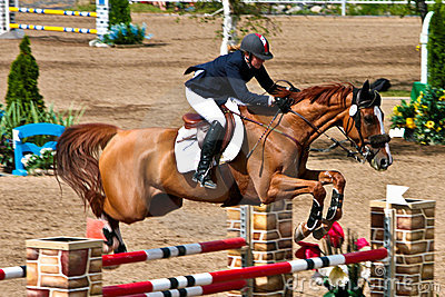Horse Rider at the Bromont jumping competition Editorial Stock Image