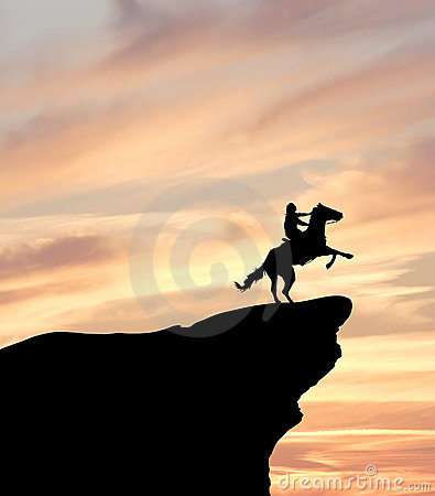 Horse Rider on Cliff Silhouette