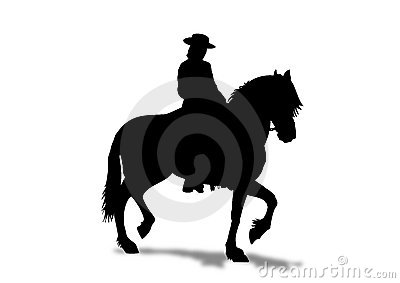 Horse Rider prancing Silhouette