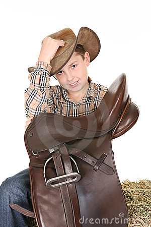 Horse rider tips his hat