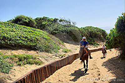 Horse riders on sand road