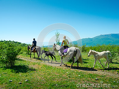Horse riders traveling