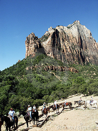 Horse riders in Zion Canyon
