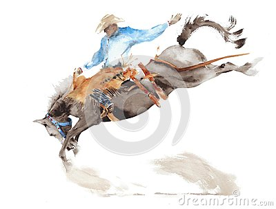 Horse rodeo watercolor painting illustration isolated on white american sport wild west tradition Cartoon Illustration