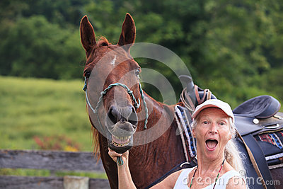 Horse Whinny and Surprised Senior Woman