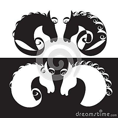 Horse silhouette, label,
