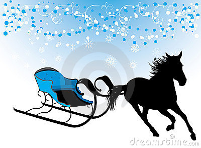 Horse with sledges. Composition for Christmas card