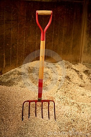 Free Horse Stable Witth Straw Fork Tool, Sawdust Stock Photography - 7551512