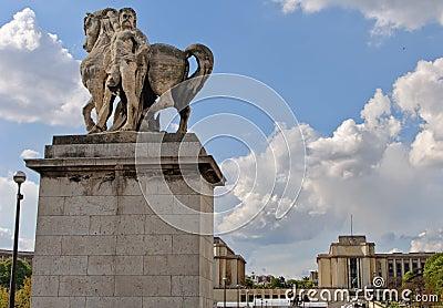 Horse statue and Trocadero. Paris.