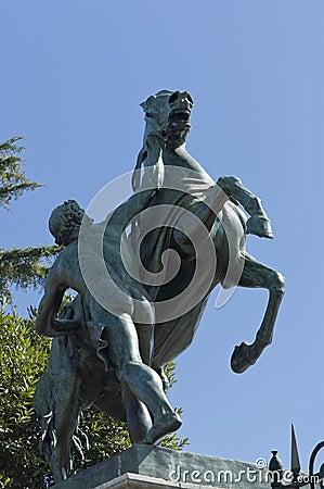 Horse tamer sculpture