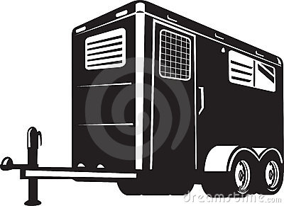 Horse trailer viewed from low angle
