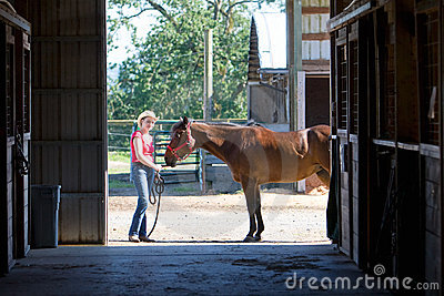 Horse and Trainer at Farm- horizontal