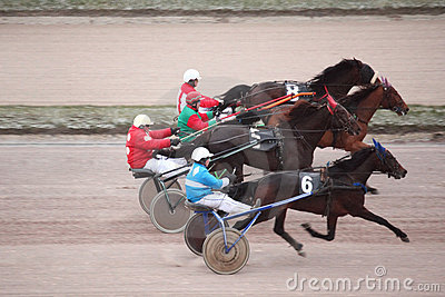 Horse trot racing on Moscow hippodrome Editorial Photo