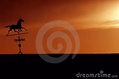 Horse Weathervane Silhouette At Sunset