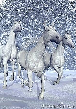 Horse in winter - 3D Render