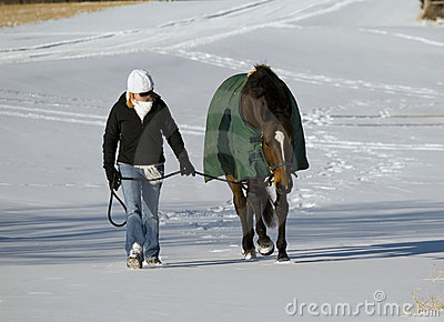 Horse and woman in snow