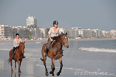 Horseback Riding on the Beach at La Baule, France Editorial Stock Photo