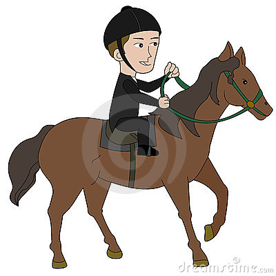 Horseback riding cartoon
