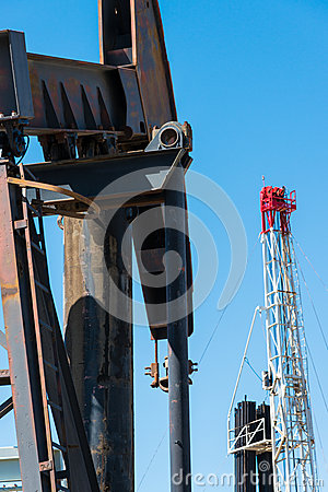 Horsehead pumpjack with a blue sky background