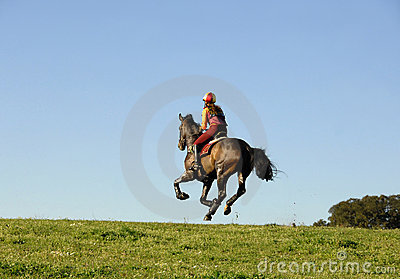 Horseman galloping