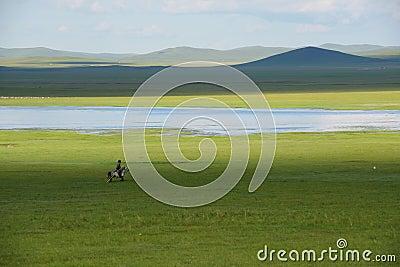 Horseman and prairie