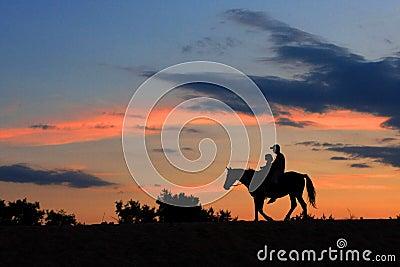 Horsemans going ascross wilderness at night