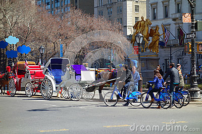 Horses and Bikes in New York City Editorial Stock Image